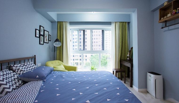 90平蓝调小户型蓝色卧室装修图