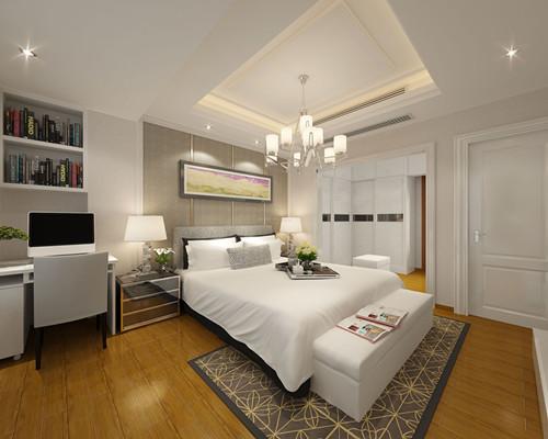 这款卧室木地板装修,采用浅色木地板拼接,暖色调的吊灯装点着居室