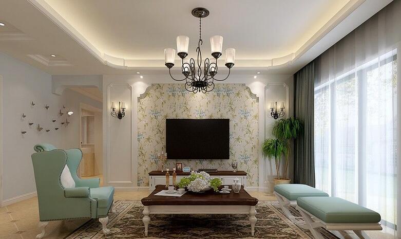 这款客厅吊顶适合于田园风格家装,精致,细腻的吊顶以圆弧形的边线