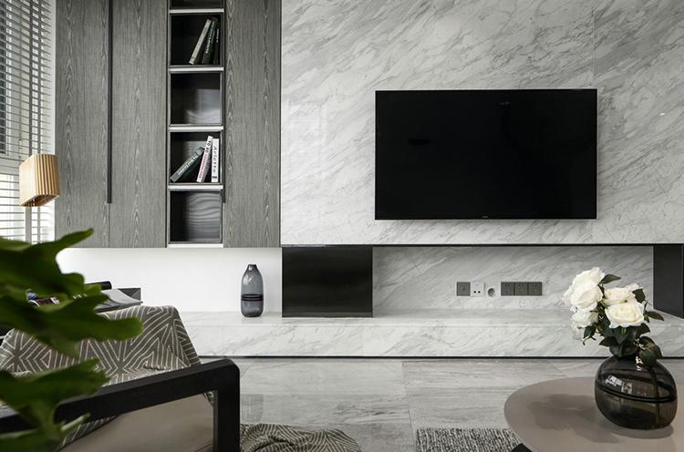 黑白灰格调别墅装修电视背景墙图片