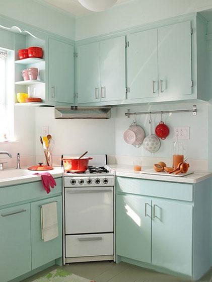 薄荷绿厨房装修欣赏图