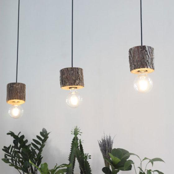 创意原木设计吊灯装修设计