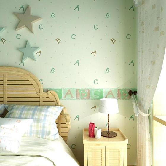 清新可爱儿童房卧室壁纸效果图