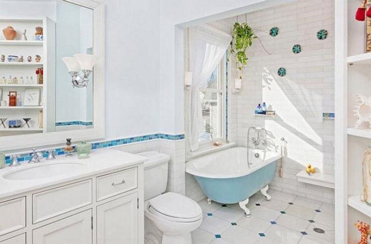 清新蓝白浴室装修图片