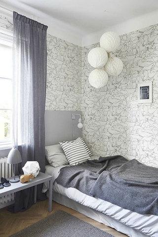 北欧风格卧室实景图