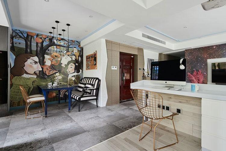 120平方房子创意混搭效果图工作区设计图
