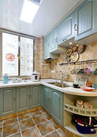 地中海风格三居室装修厨房实景图