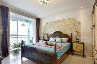 地中海风格三居室装修卧室装潢图