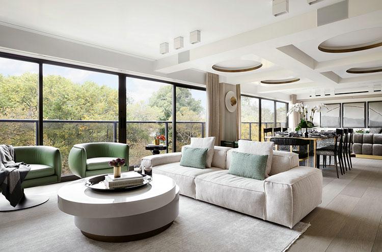 国外时尚复式住宅装修客厅效果图