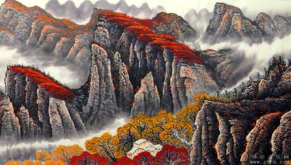 《鸿运当头》壮阔的瀑布景观和漫山遍野的红叶的谐音,诠释了鸿运当头图片