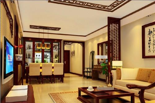 如图所示,这款中式房屋装修中,给人无拘无束之感,采用绿色植物 装饰图片
