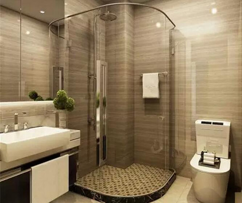 这种简中式装修效果图描绘的是浴室,墙面以灰褐色瓷砖进行铺贴,而