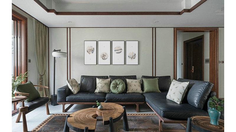 15-20万110平米中式三居室装修效果图,新中式三室两厅图片