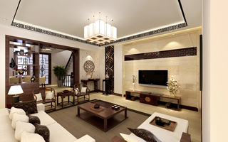 现代中式别墅装修效果图