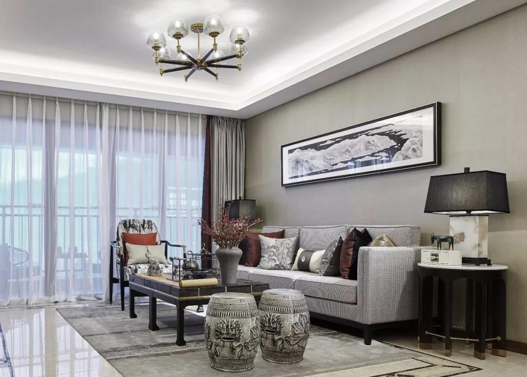 沙发背景墙,最美不过新中式!图片