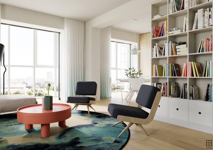 客厅还摆放了一个,靠墙式的书柜,收纳和书柜二合一的设计.