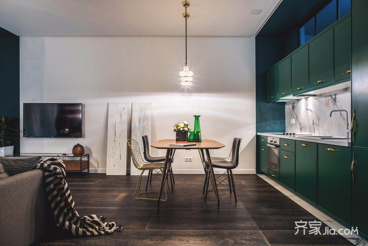 一居室小戶型混搭風裝修餐廳布局圖