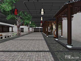 休闲养生文化广场装修室中心街区效果图