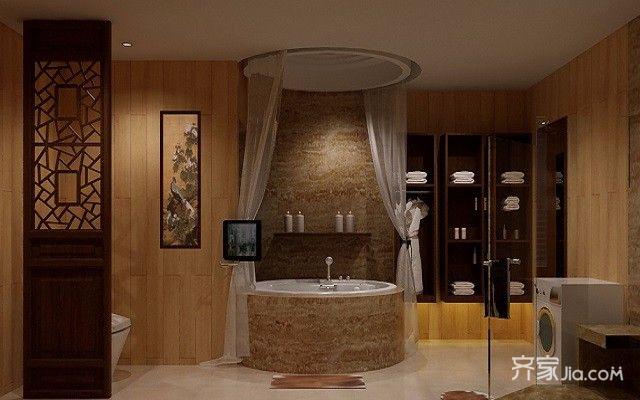 三居室中式装修卫生间装潢图