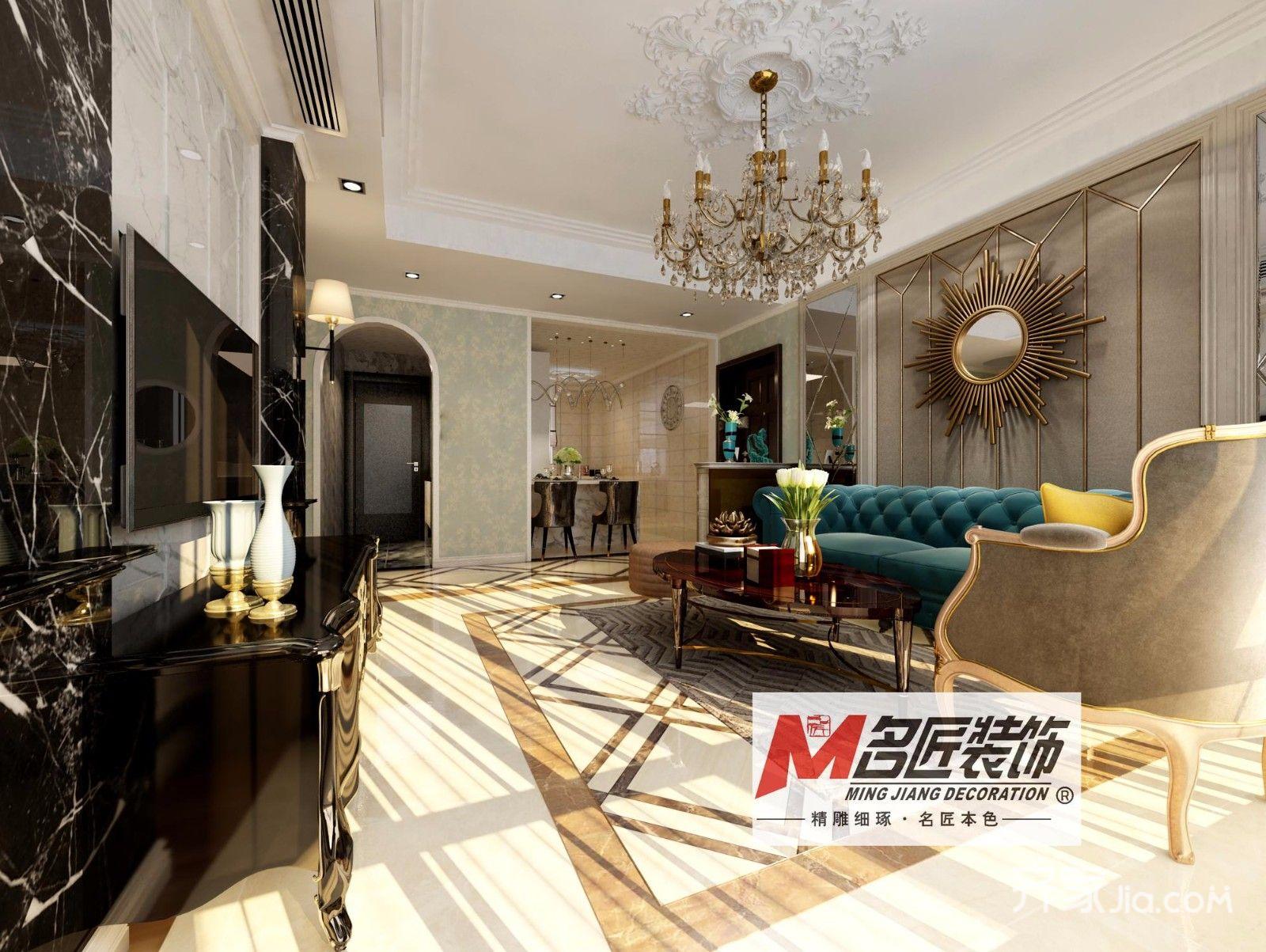 欧式三居室装修电视柜图片