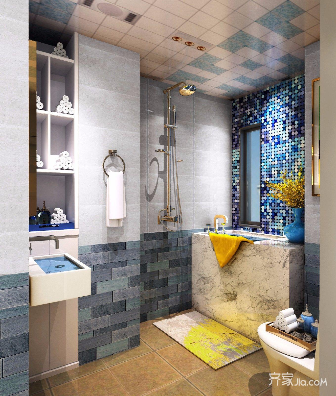 二居室混搭装修卫生间装潢图