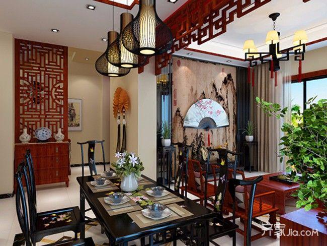175㎡中式风格设计餐桌图片