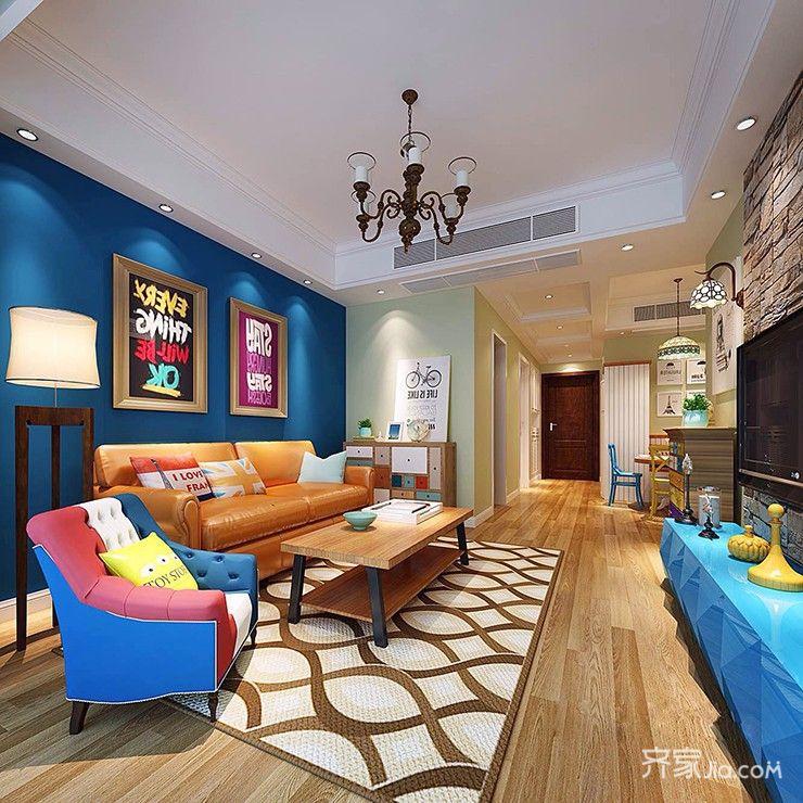 90平米混搭风格装修客厅效果图
