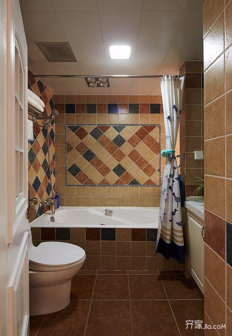 三居室美式风格装修卫生间装潢图