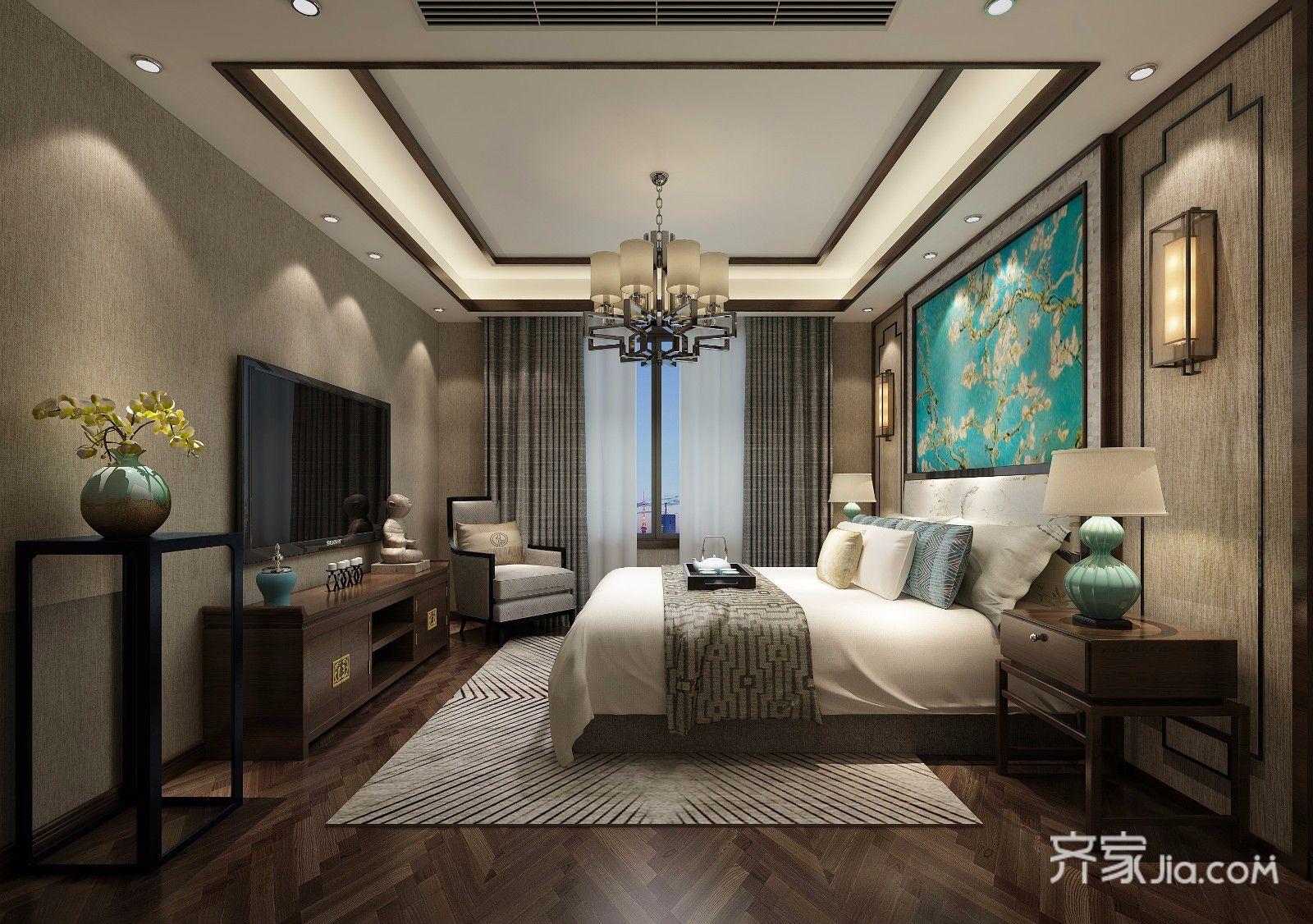 188平中式风格装修卧室效果图