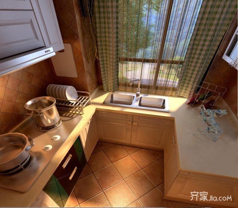 130平欧式风格家厨房效果图