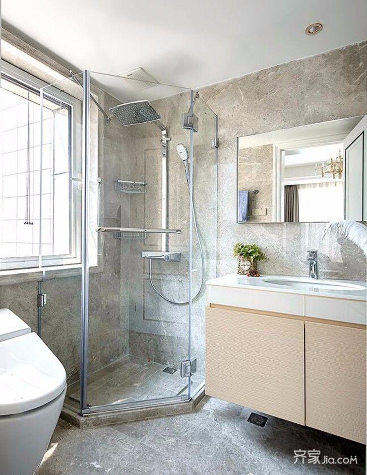 三居室现代简约风格装修卫生间效果图