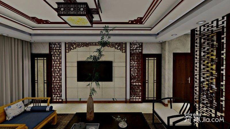 40平中式风格装修客厅效果图