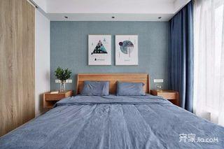 二居室北欧风格家卧室背景墙