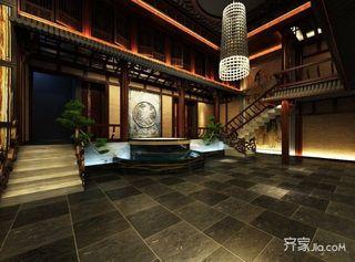 680平中式工装茶楼大堂效果图