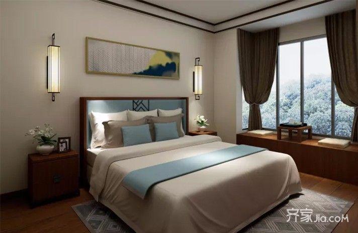 40平中式风格装修卧室效果图