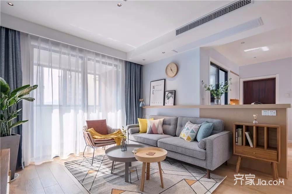 简约风格两居室装修客厅设计图
