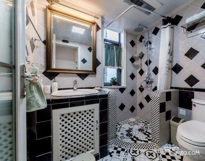 140㎡美式风格装修卫生间装潢图