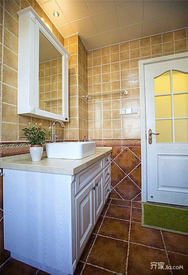 美式遇见北欧风格装修卫生间装潢图