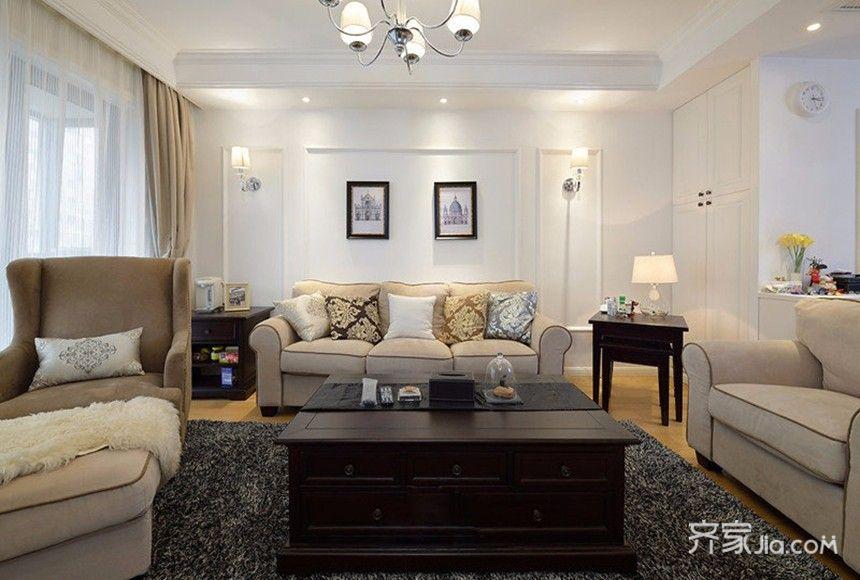 100㎡欧式风格装修客厅实景图