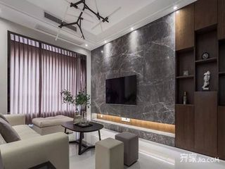 80平简约三居室装修电视背景墙图片