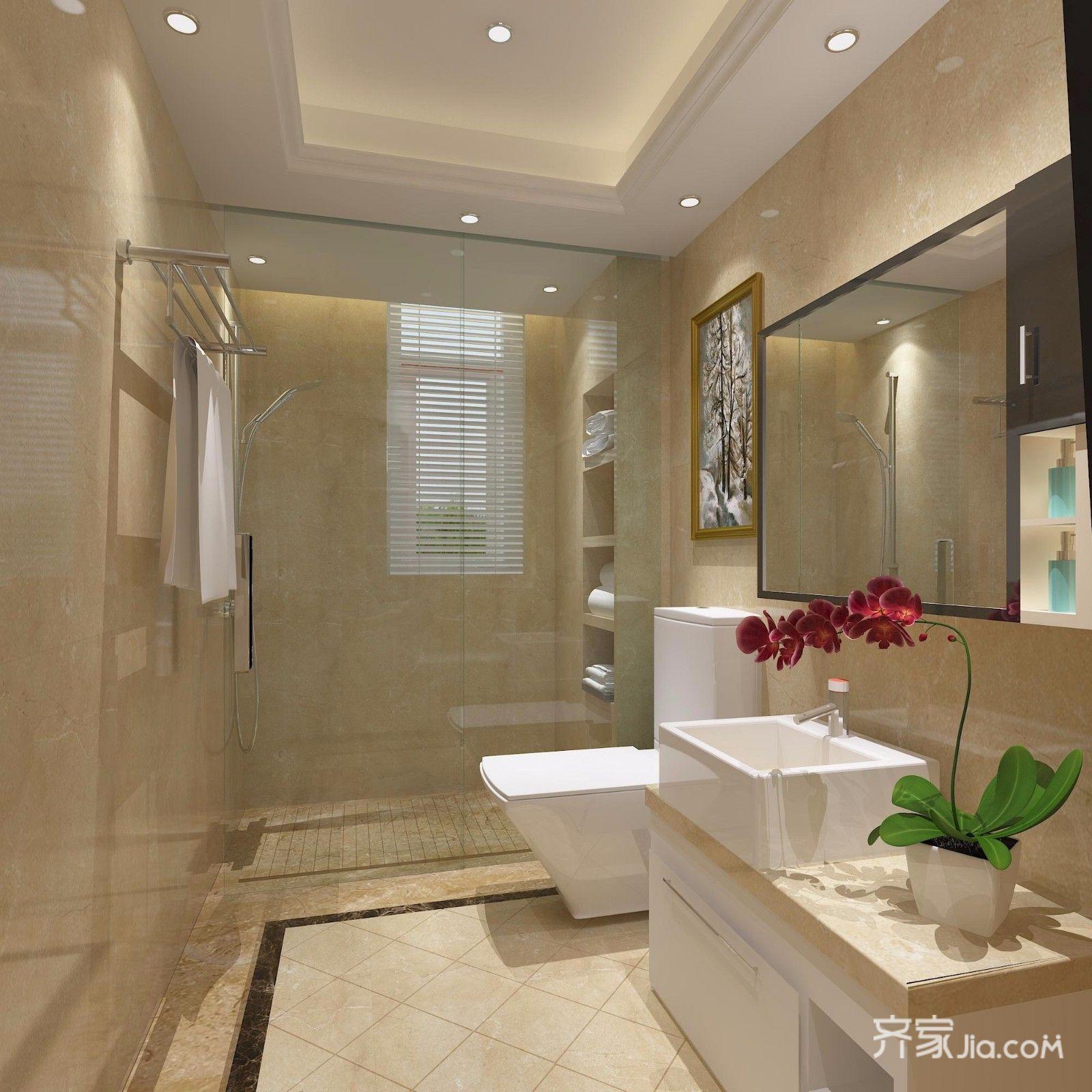 三居室欧式精装修客卫生间效果图