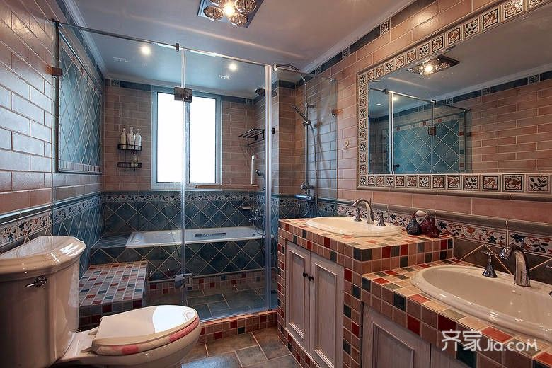 130㎡美式风格装修卫生间装潢图