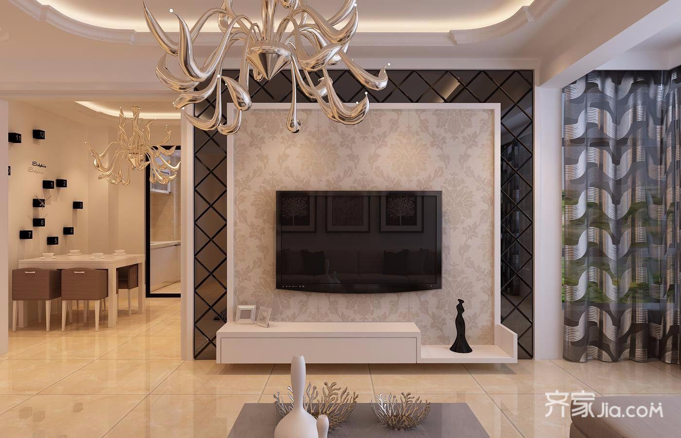 80平米现代简约风格装修电视背景墙图片