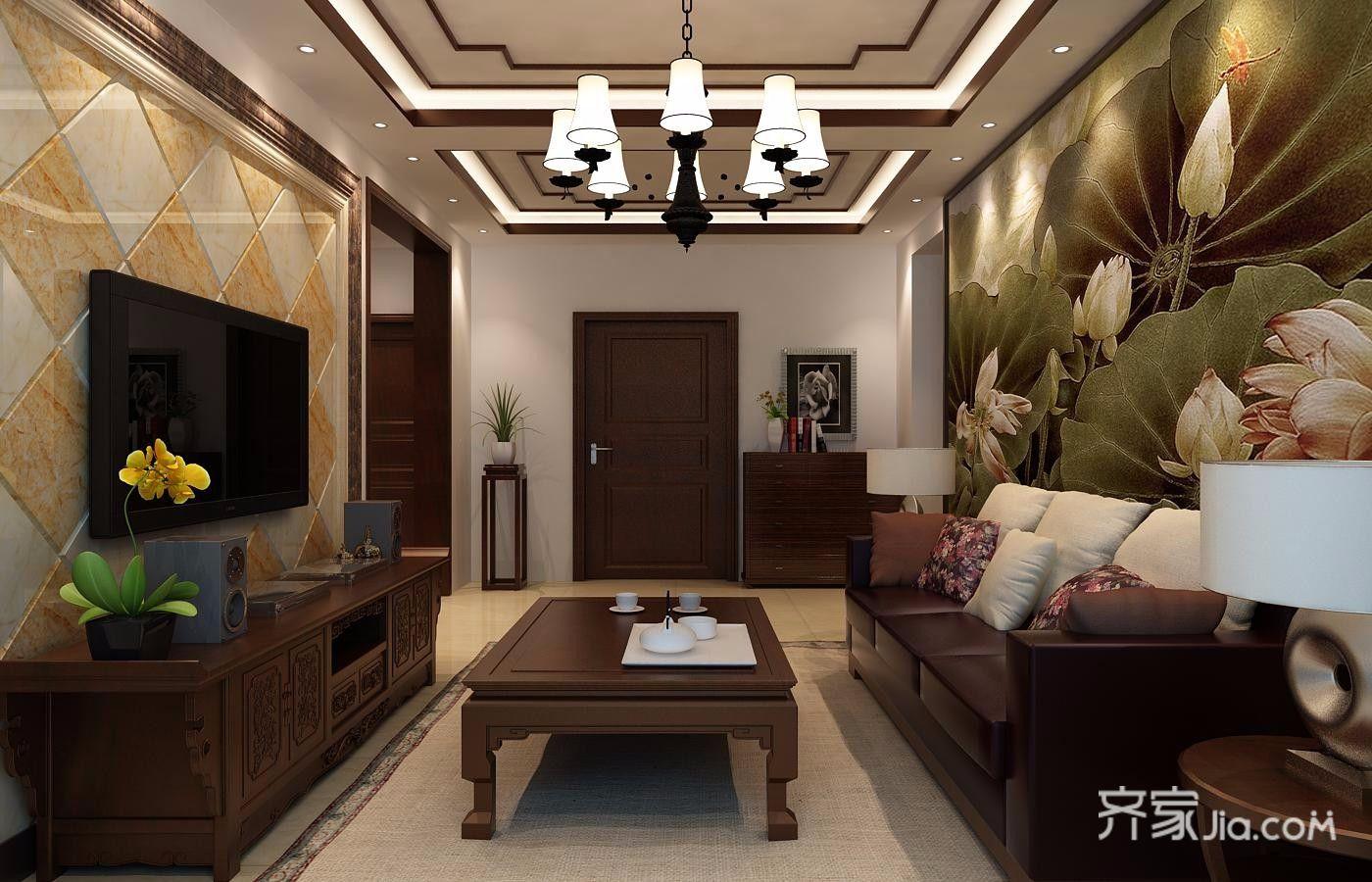 80平米二居室装修客厅效果图