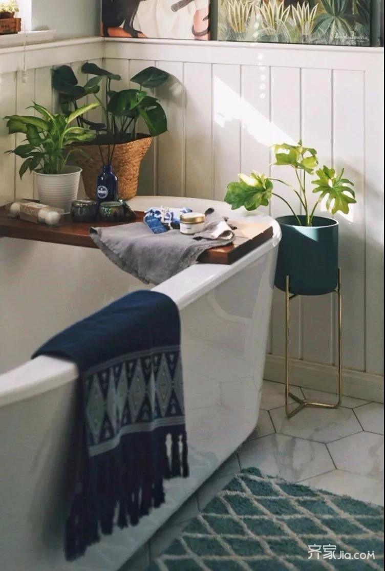 三居室混搭风格装修浴缸图片