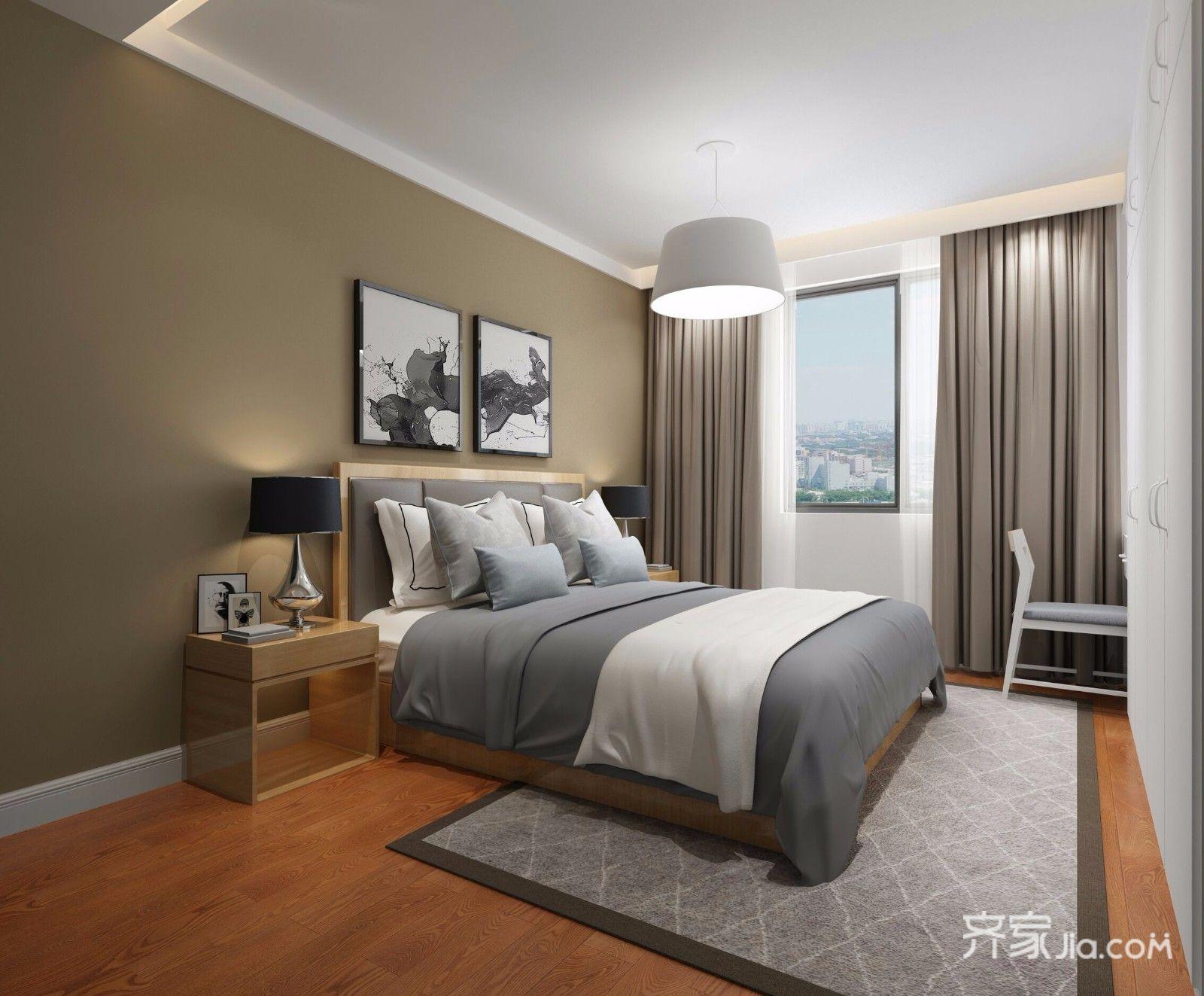 90平混搭风格装修卧室设计图