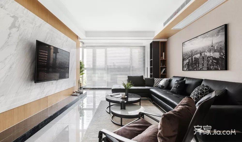 135㎡简约风格三居室装修电视背景墙设计图