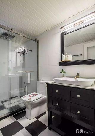 120㎡美式风格三居室装修卫浴实景图
