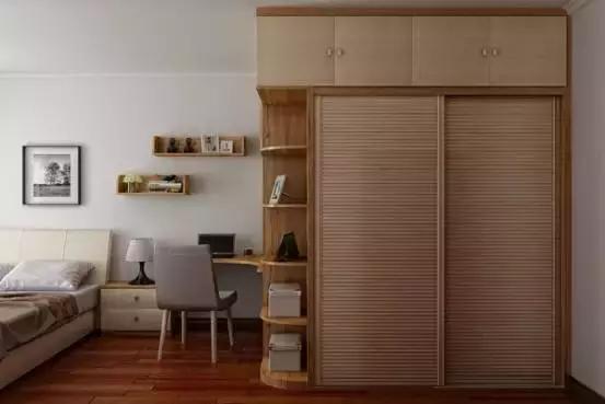 l型拐角空间,一面做衣柜,另一面做书柜.图片
