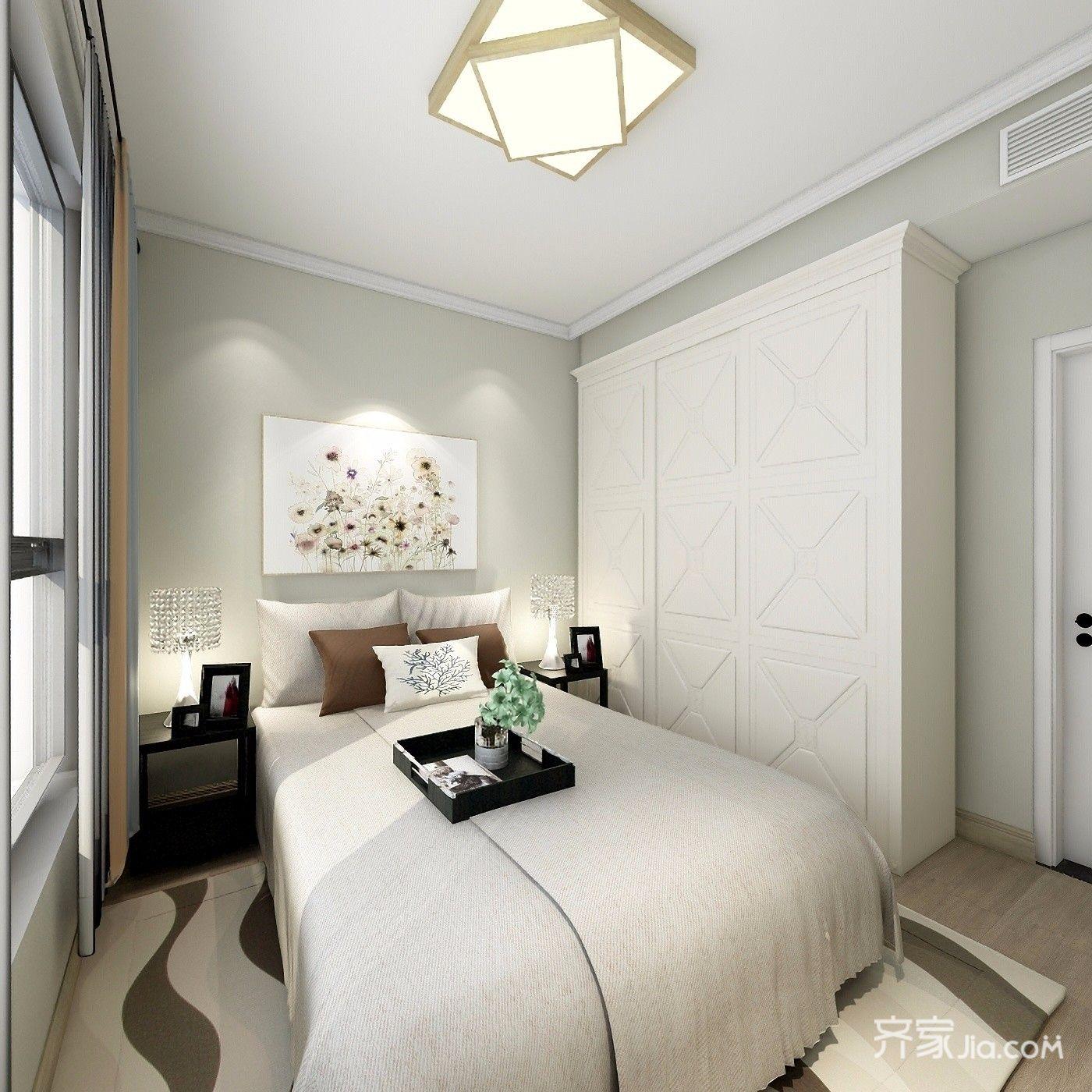 主卧室床背景用石膏线条简单造型,乳胶漆颜色比较暖一点